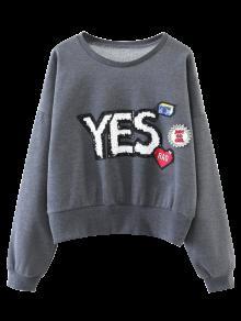 Patché Pailletée Sweat-shirt - Gris S
