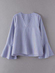 V Neck Plaid Flare Sleeve Blouse - Blue L