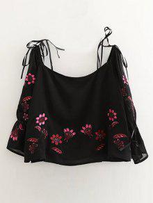 De Hombro Off Bordado Blusa Negro M Floral d64Taq