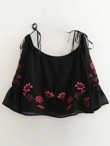 Floral Embroidered Off Shoulder Blouse - Black L