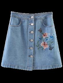 Embroidered Single-Breasted Denim Skirt - Light Blue M