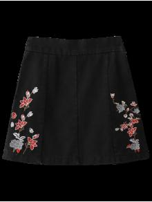 Zippered Floral Denim Skirt - Black M