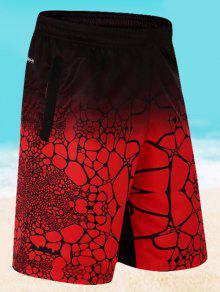 شورت مرونة الخصر طباعة أومبير - أحمر 4xl