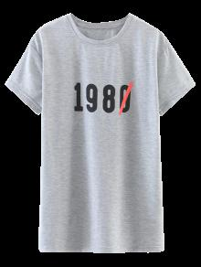 Oversized Number Print T-Shirt - Light Gray S