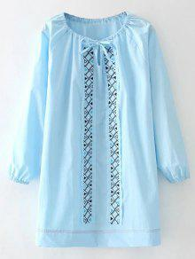 Long Sleeve Remendo Vestido Bordado - Azul-celeste L