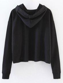 Oversized Cropped Hoodie BLACK: Sweatshirts L | ZAFUL