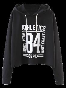 Oversized Cropped Hoodie - Black M