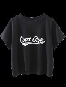 Cropped Letter T-Shirt - Black L