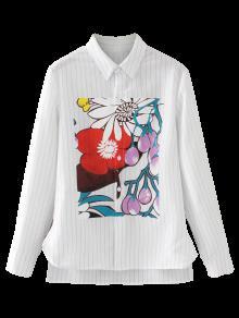La Floral Rayada Blanco Baja De Alta Camisa M BTwRE7Bq