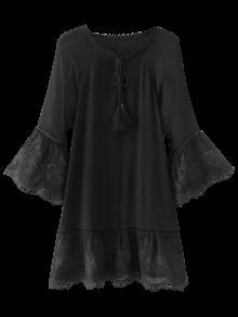 Flare Sleeve Laser Cut Tassels Dress - Black L