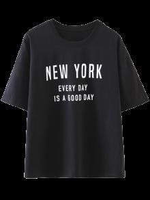 Drop Shoulder Letter T-Shirt - Black S