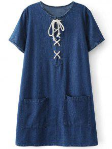 Pockets Lace Up Denim Shift Dress - Blue S