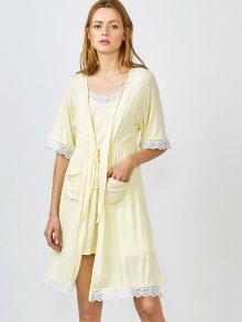 Con Borde De Encaje Cami Ropa De Noche Con El Kimono - Amarillo L
