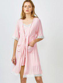 Lace Trim Cami Sleepwear With Kimono - Shallow Pink M