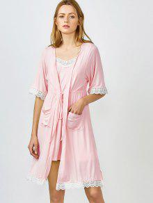 Kimono Et Pyjama à Bordures En Dentelle - Rose Clair L