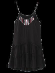 Mini-robe Caraco Brodé Avec Volants - Noir S