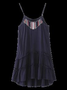 Embroidered Ruffles Cami Dress - Purplish Blue L