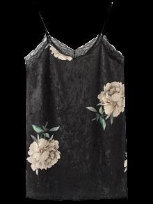 Vestido Floral De Terciopelo Con Tirante Fino Con Encaje - Negro M