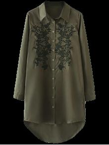 Floral Embroidered High Low Shirt Dress - Army Green L