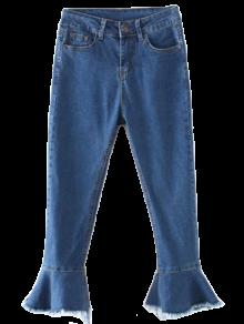 الجينز مع طرف البنطلون بشكل الجرس والهدب المنهك - ازرق L