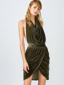 Sexy Backless Velvet Draped Tulip Dress - Army Green M