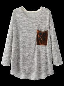 Heathered Pocket Knit Top - Light Gray S