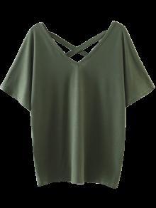 De Gran Tamaño Crosscriss Top - Verde Del Ejército L