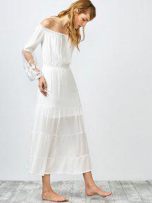 Hombro Fruncido Vestido Largo - Blanco L