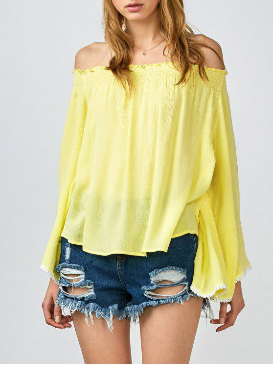 26c193eab6224 32% OFF  2019 Smocked Off The Shoulder Top In YELLOW