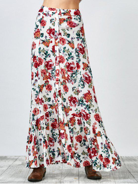 fashion Button Up Floral Maxi Skirt - WHITE S