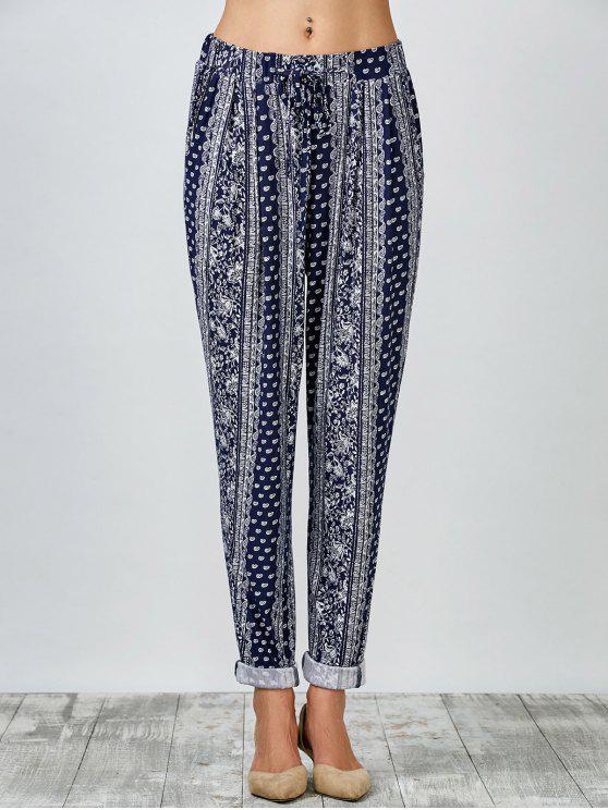 Paisley Print zanahoria pantalones - Azul L