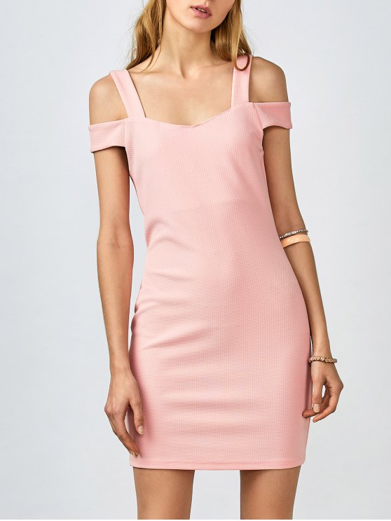 Cold Shoulder Vestido ajustado - Rosa L
