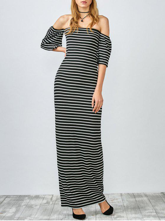 0ebafc8f9a 36% OFF  2019 Striped Off The Shoulder Long Dress In WHITE AND BLACK ...