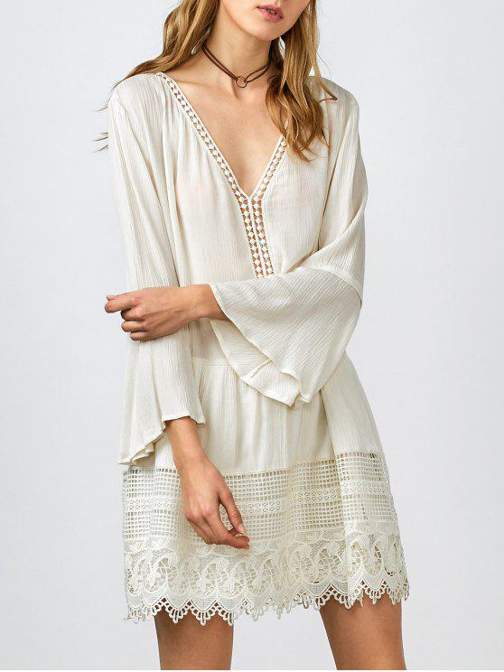 sale Belled Sleeve Crochet Trim Shift Dress - WHITE S
