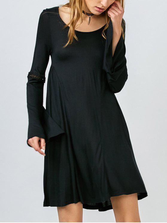 latest Bell Sleeve Flared Dress - BLACK S