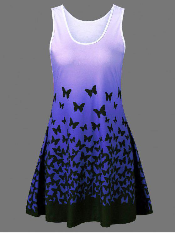 Schmetterlings Druck Ombre Freizeit A Linie Tank Kleid - Blau XL