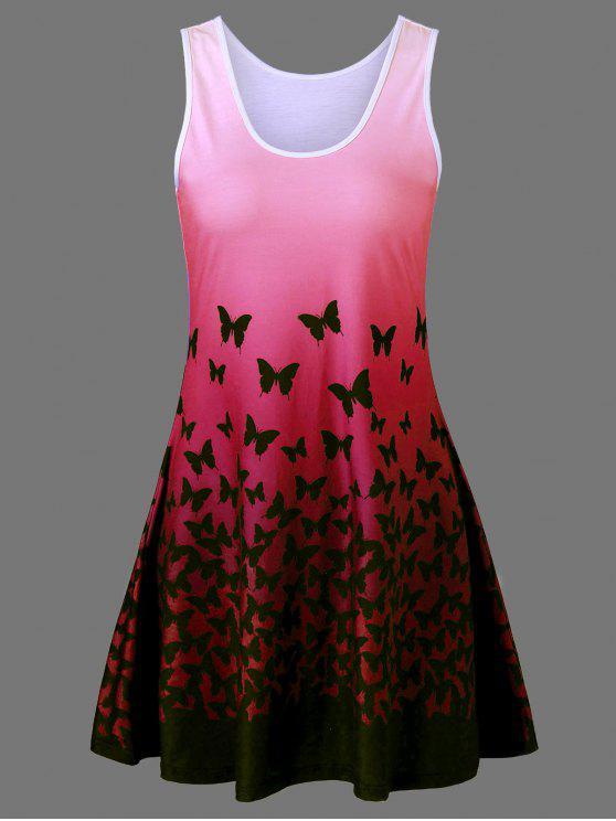 فستان سترة بلون أومبير طباعة - أحمر 2XL