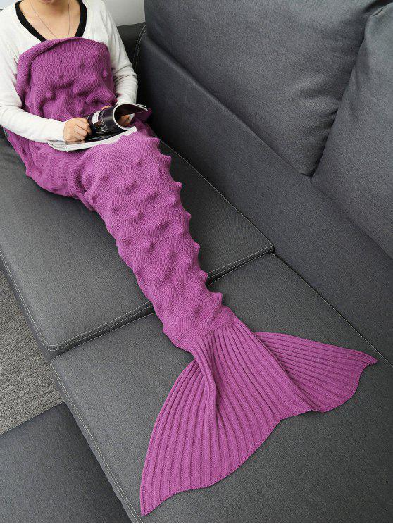 القنفذ تصميم محبوك حورية البحر الذيل بطانية - البنفسجي وردة 165*95CM