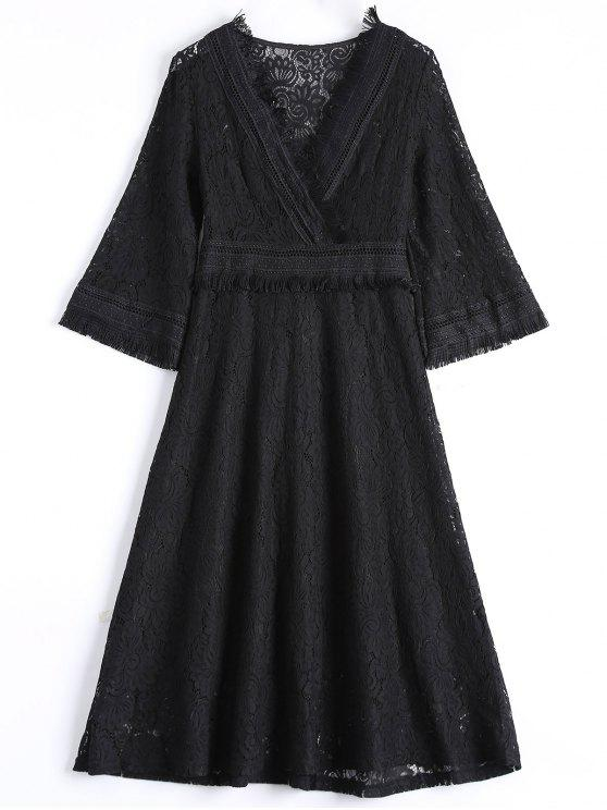 women Guipure Lace Midi Flared Swing Dress - BLACK M