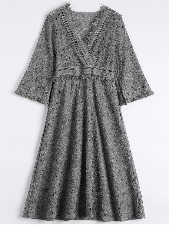 online Guipure Lace Midi Flared Swing Dress - GRAY L