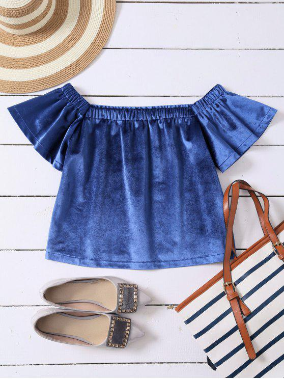 best Off The Shoulder Velvet Loose T-Shirt - BLUE M