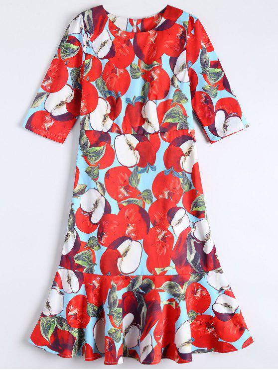 Robe trapèze mi-longue à volants - Rouge L