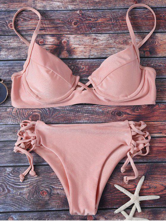 Cami Lace Up Bikini - Pink S