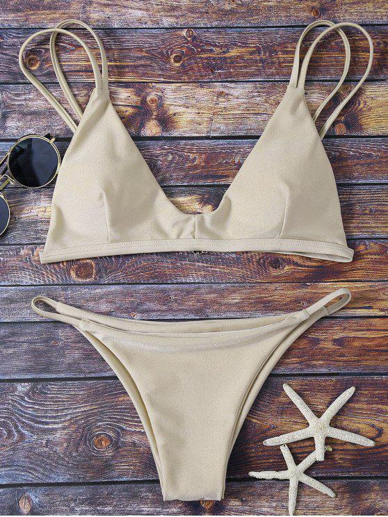 hot Bralette Bikini Top and String Bottoms - KHAKI S