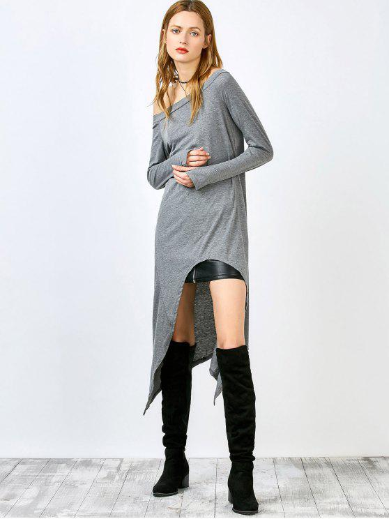 affordable Slash Neck Irregular Hem Loose Dress - GRAY L