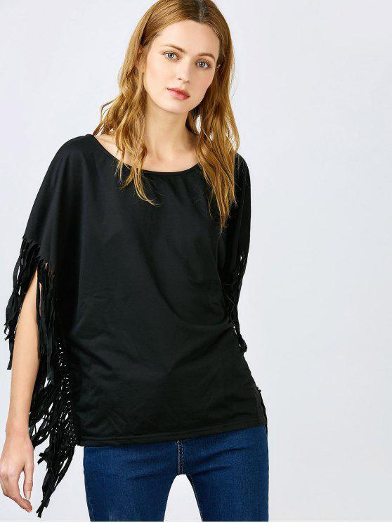 trendy Skew Neck Fringed Black Blouse - BLACK S