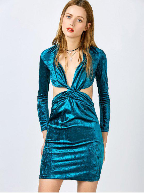 unique Pluging Neck Cutout Velvet Dress - BLUE M
