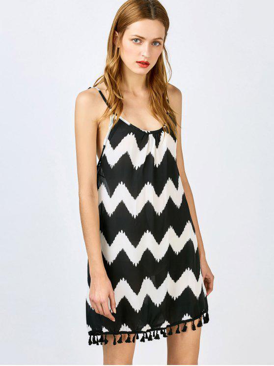 Spaghetti-Trägern Kleid mit Quasten Spleiß und Zig Zag Muster - Schwarz S