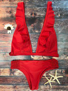 Bikini Volantes Cuello V Largo Plisado - Rojo S