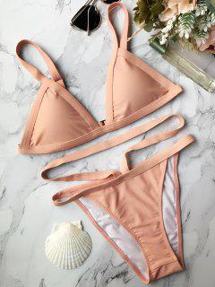 Assortiment De Bikini Rembourré à Bretelles Bandées - Rose PÂle L